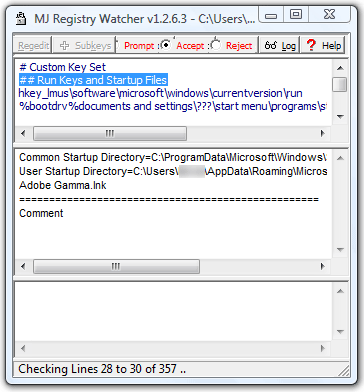 Screenshot of MJ Registry Monitor - Portable Registry Monitor
